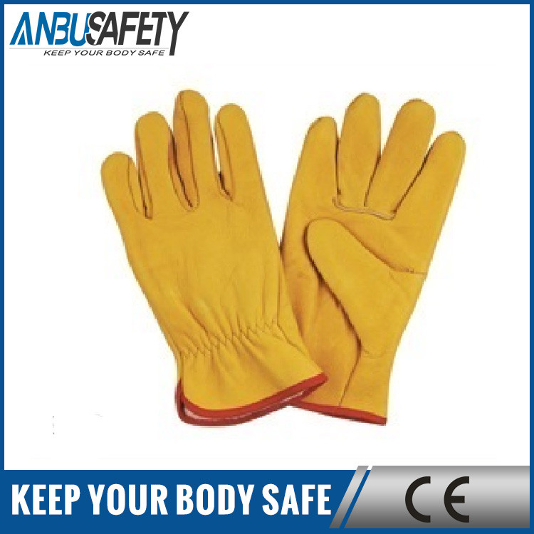 Safety protection fulllining deerskin leather work gloves