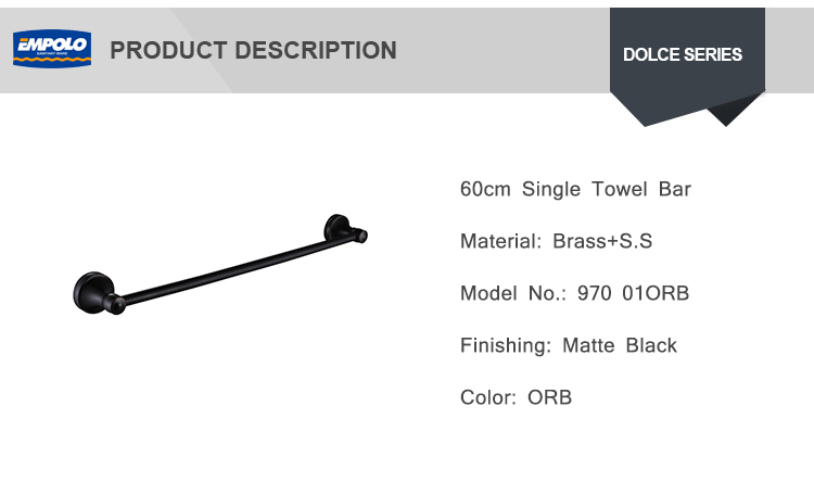 Modern Style Solid Brass Bathroom Wall Mounted Black Single Towel Bar