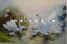 A family of swans oil painting for sale handmade animal oil paints
