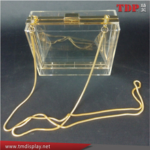Clear and Exquisite handmade acrylic woman shoulder long strip bag for girls