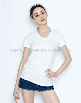 Comfortable short sleeve breathable T-shirts for women/ladies with V-neck