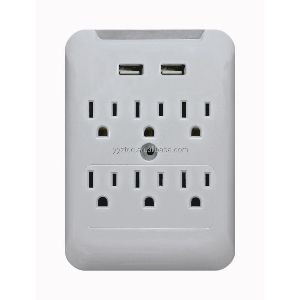 6 outlet surge protected current tap with USB ports