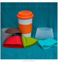 custom reusable eco-friendly silicone coffee cup sleeve