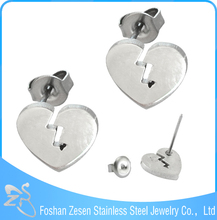 Heart shape ear studs stainless steel earings for boys