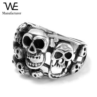 Vintage Classic Gothic Embossed Biker Stainless Steel Skull Men's Ring