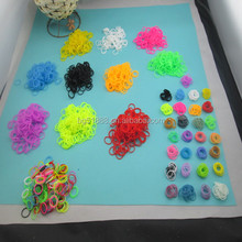 Hot selling colorful Rubber Loom Kit Rubber Loom Bands Refill Pack 600pcs Mixed Color Bands+24pcs S-clips