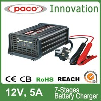 Electric car battery charger 12V 5A, 7 stage automatic charging with CE,CB,RoHS certificate