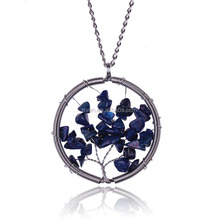 ST0172 Round Pendant Hot Sale Blue Stone Necklace Women Handmade Stone Jewelry 2015