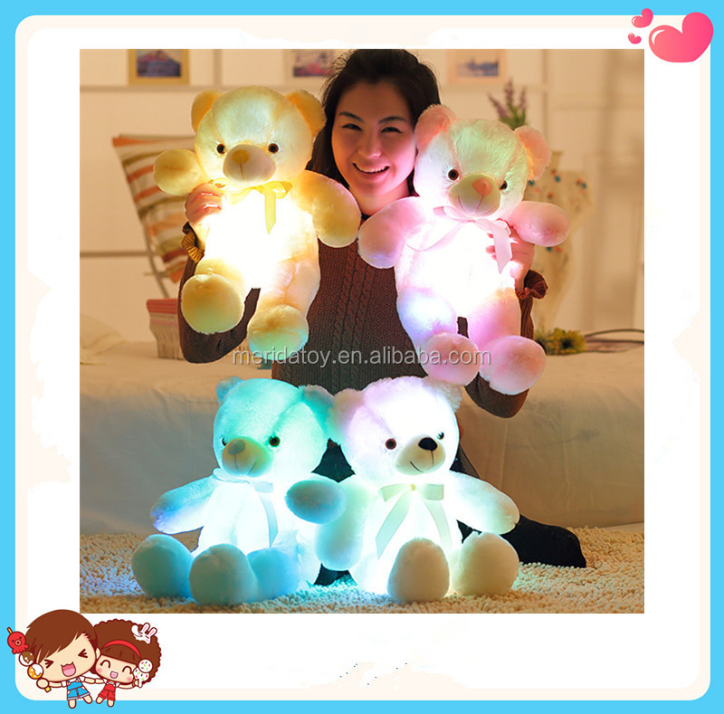 Wholesale Four Colors Teddy Bear Shaped Stuffed Plush Shining LED Light Up Lighting Soft Toy