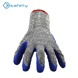 HPPE Knitted Latex Palm Coated High Level Industrial Cut Resistant Gloves