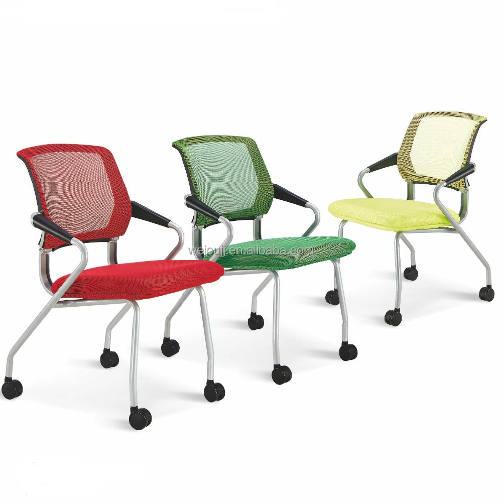 colorful swivel office chair with mesh seat and back