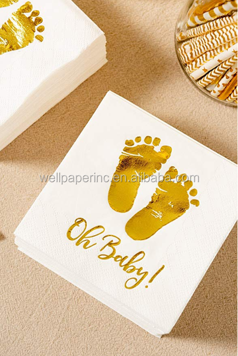 20 pcs Baby Shower Napkins Oh Baby ! Beverage Napkins 3-Ply Gold Foil Feet Cocktail Napkins for Boy and Girl Baby Shower