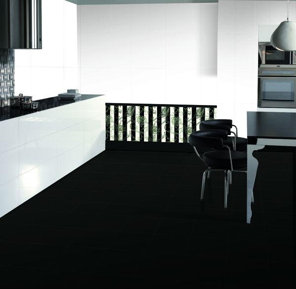 Cer mica baldosa de color blanco y negro puro de formato for Baldosa ceramica interior