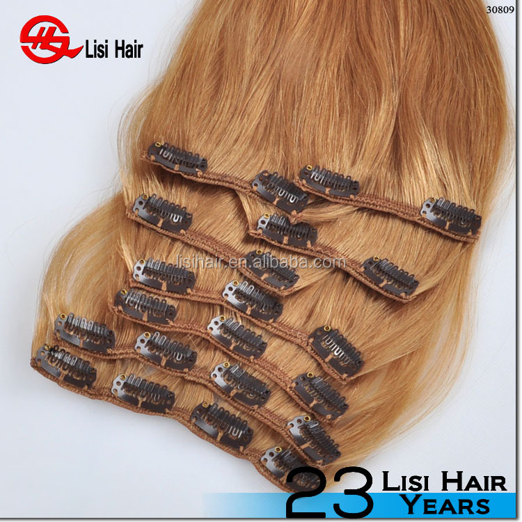 Hot sale color #27 blonde virgin russian hair double drawn clip in human hair extensions