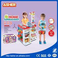Top quality kids electronic play pretend luxury supermarket combination sets cash machine toy
