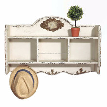 Antique decorative floating wooden storage wall shelf with showcase