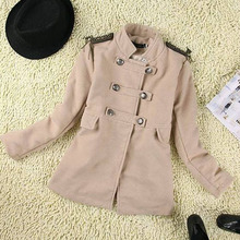 W9151 double-breasted shoulde metal decoration woolen short pattern England apricot coat