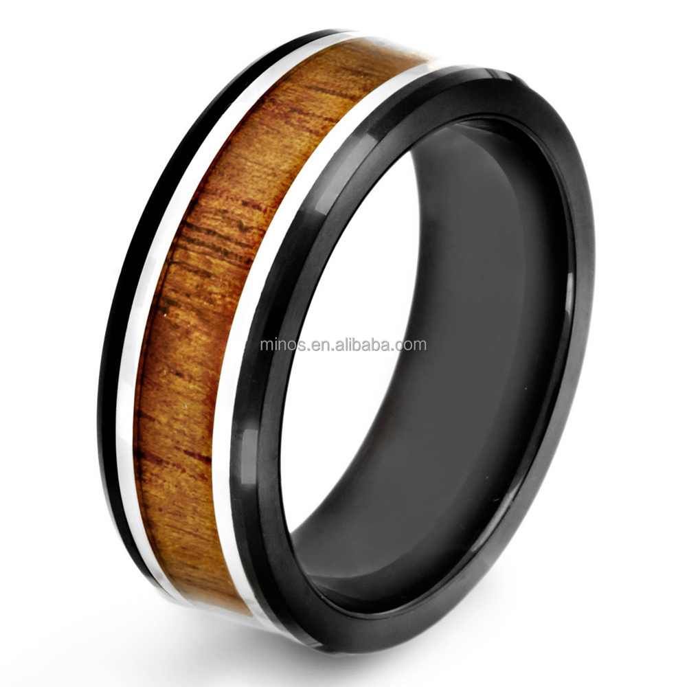 Black-plated Stainless Steel Wood Inlay Ring,Moissanite Diamond Engagement Ring