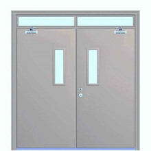 Soundproof Gray Color Anti Fire Exit Door With Glass insert
