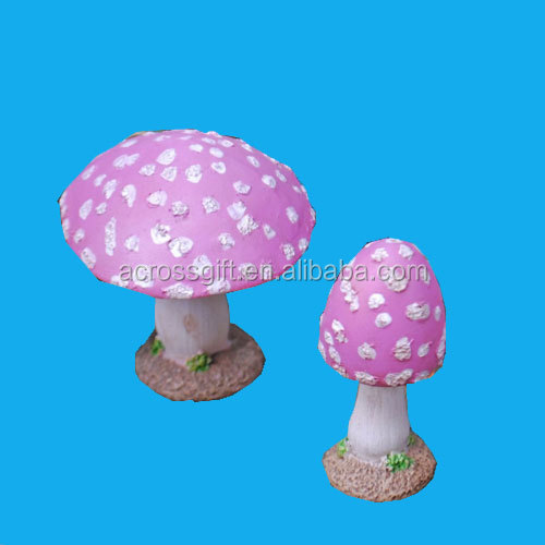 Set of Two Pink Resin Mushroom Toadstool Garden Ornaments