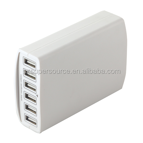 EU Plug 60W 6 Port Multi USB Wall Charger Multiple Device Charging Chargeur USB Portable Wall Charger