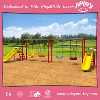 EU standard outside park metal plastic play structure equipment outdoor playground kids double swing set