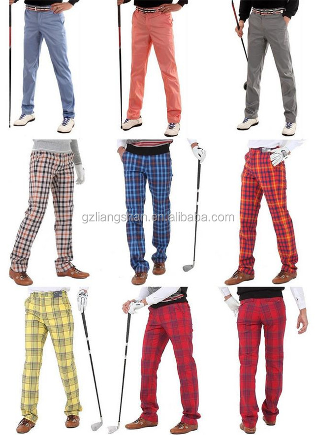 2015 Modern style fashion men casual golf trousers long red plaid pants