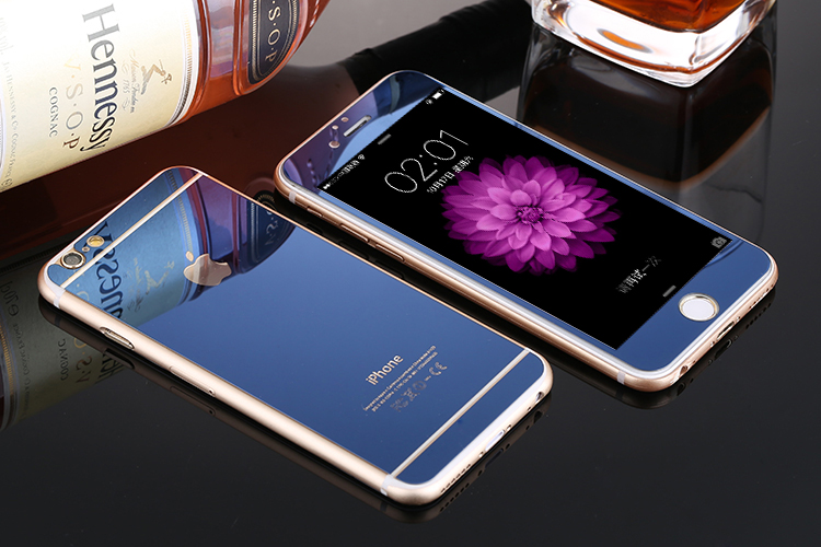 China Supplier Wholesale Front Back Cell Phone Colored Mirror Tempered Glass Screen Protector for iPhone 6