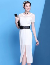 Womens N-neck mesh chiffon combined high slits two layers white long dress with black waist belt