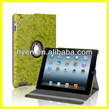 Sculpture Blossom Pattern 360 Degree For iPad 4 3 2 Slim PU Leather Smart Cover And Case Wake Up/Sleep Function Good Price