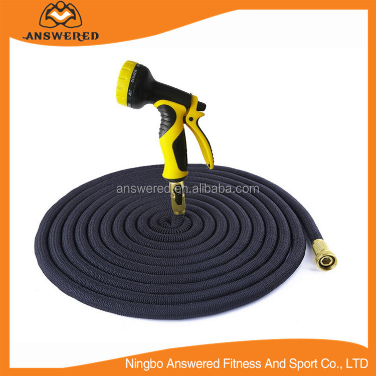 Expanding Garden Hose - 100 Foot Green - Extra Strength Stretch Material with Brass Connectors - Bonus 8 Way Spray Nozzle