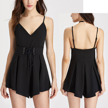Dongguan manufacturer supply OEM adult apparel women clothes Lace Up Corset Detail Pleated Wide Leg Cami Romper