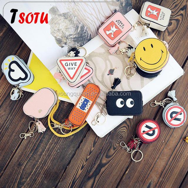 ZW120 South Korea cartoon color Mini ladies Wallet smiling eyes pills tassel hanging bag purse