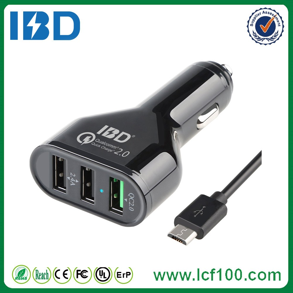 2015 IBD Small car batteries battery 3 port usb car charger mobile phone battery charger
