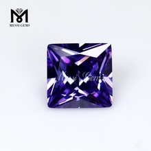 Synthetic lavender cz stone 7x7mm machine cut cheap cubic zirconia