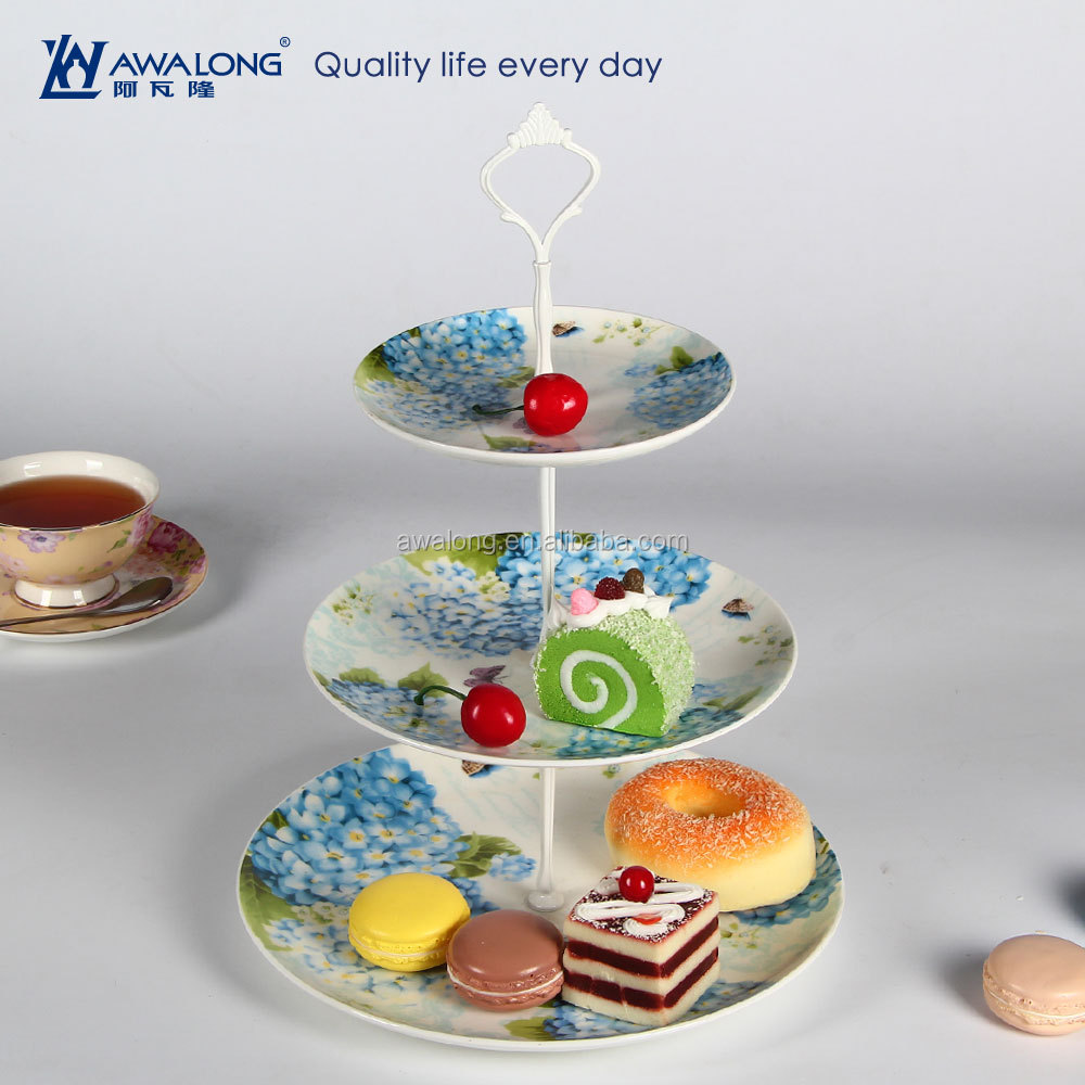 European 3 layer fruit plate stand porcelain with flower decal / multi-tier fruit plates wholesale