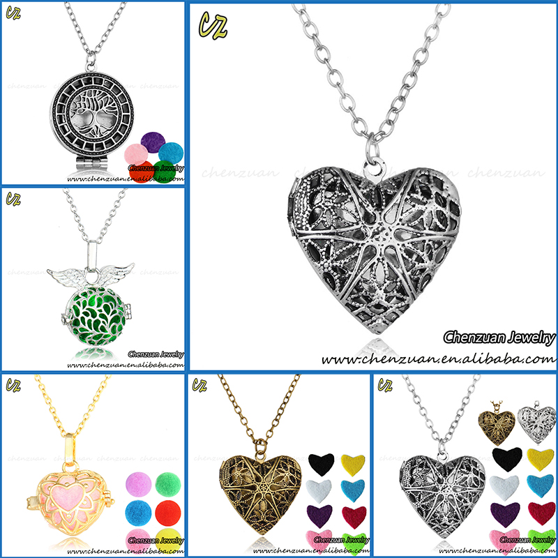 New trendy stainless steel essential oil diffuser necklace antique silver heart locket pendant for women