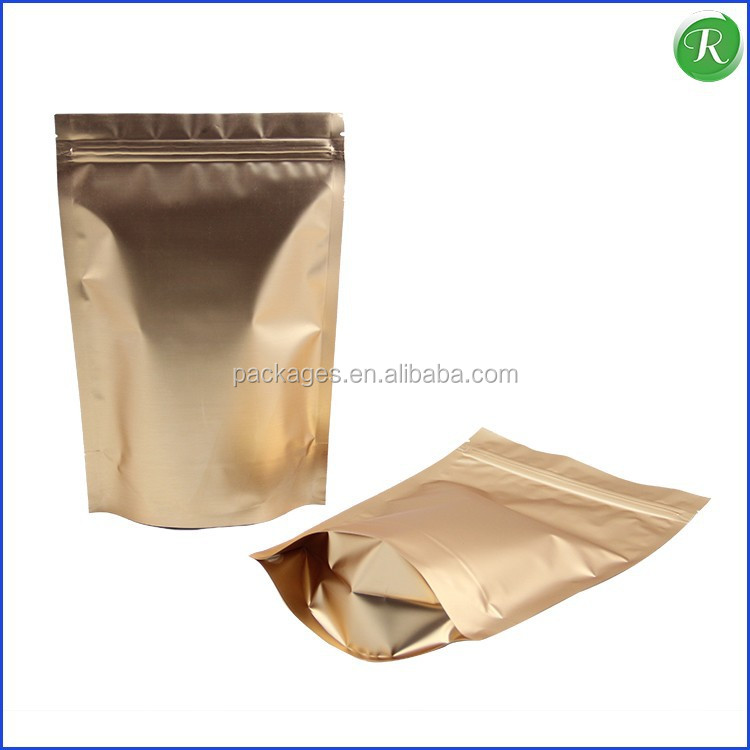 herbal Tea Stand up foil Aluminum Gold zip lock Bag Pouch