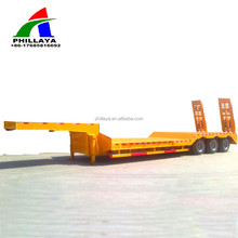 Tri-axle 80 tons Flat Low Bed Semi Trailer for Excavator (Concave Beam Type Optional )
