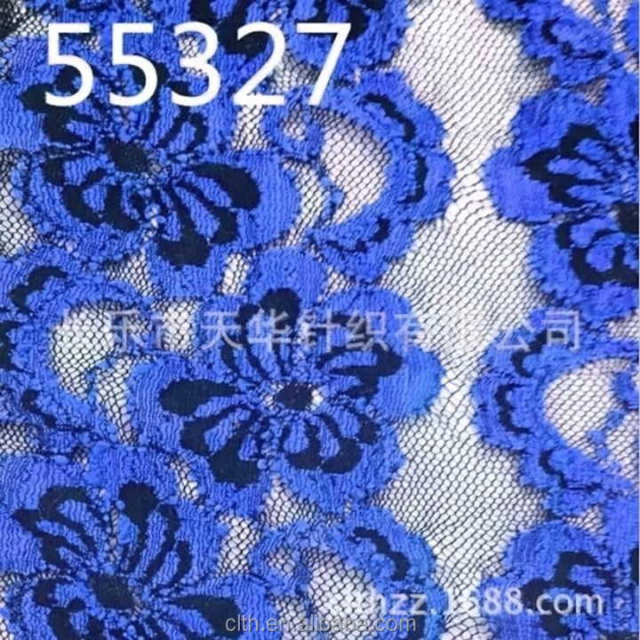 elegant royal blue color lace fabric for curtain factory direct sale fabric lace