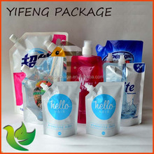 Stand up plastic liquid packaging plastic bag spout pouch for sale