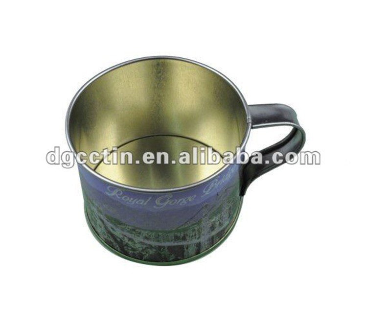 Wholesale metal tin cup with handle tin drink cup metal cup supplier