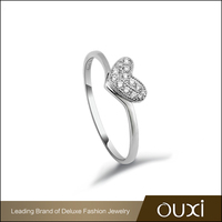Wholesale Silver Jewelry OUXI Female Heart Ring Diamond