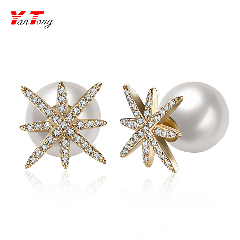 Women Gold Plate Pierced Stud Earrings Imitate Pearl Star Zircon White Two Sides Earrings