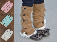 Solid Color Knee High Wholesale Baby Leg Warmers With Lace And Buttons
