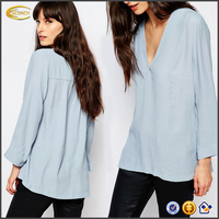 Ecoach wholesale blouse women shirt model V neck Viscose Woven Blouse for middle aged women