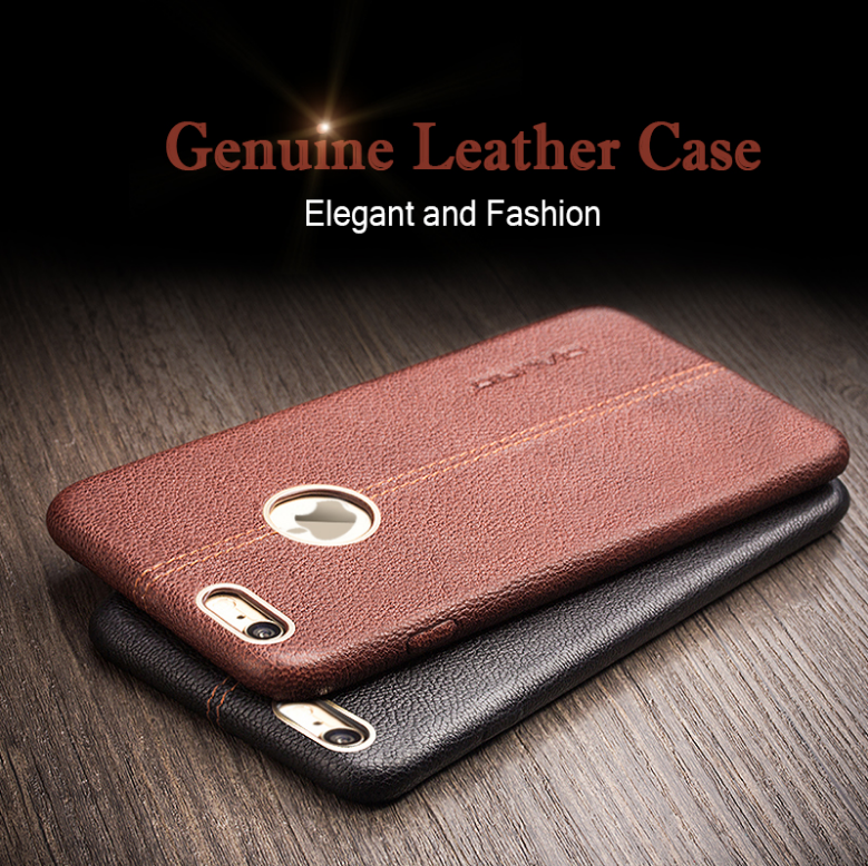 QIALINO Stitching Design Luxury Leather Phone Case For iphone 6, Genuine Leather Back Cover For iPhone6s 4.7inch