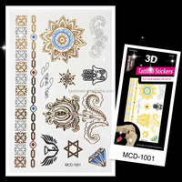 Custom Top Selling sexy body art 3d flash gold temporary tattoos