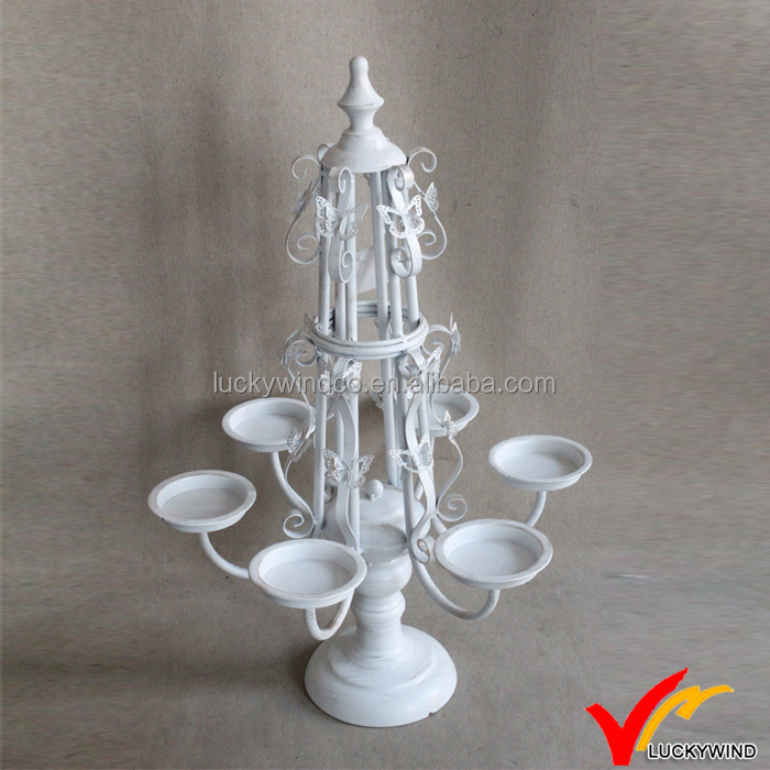 Butterfly Vintage White Candelabra Votive Holder Candle Holders