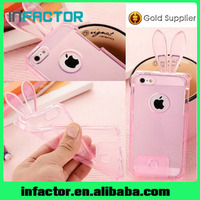New arrival cartoon rabbit transparent TPU cover cases for iPhone 5 5c 5s